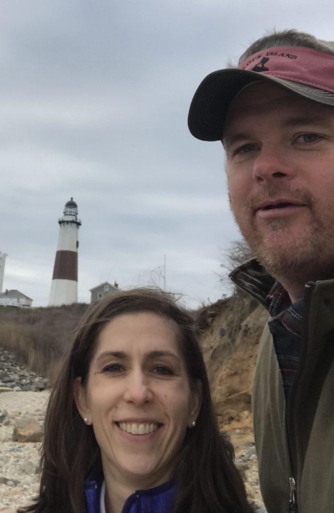Maryann Ashworth and Kris Almskog at the Montauk Lighthouse, Montauk, Long Island, NY