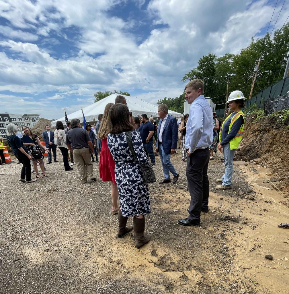 Derek Ersbak, PG, Vice President at PWGC and company at the Groundbreaking Ceremony for a new affordable housing building at Garvies Point, Glen Cove, NY