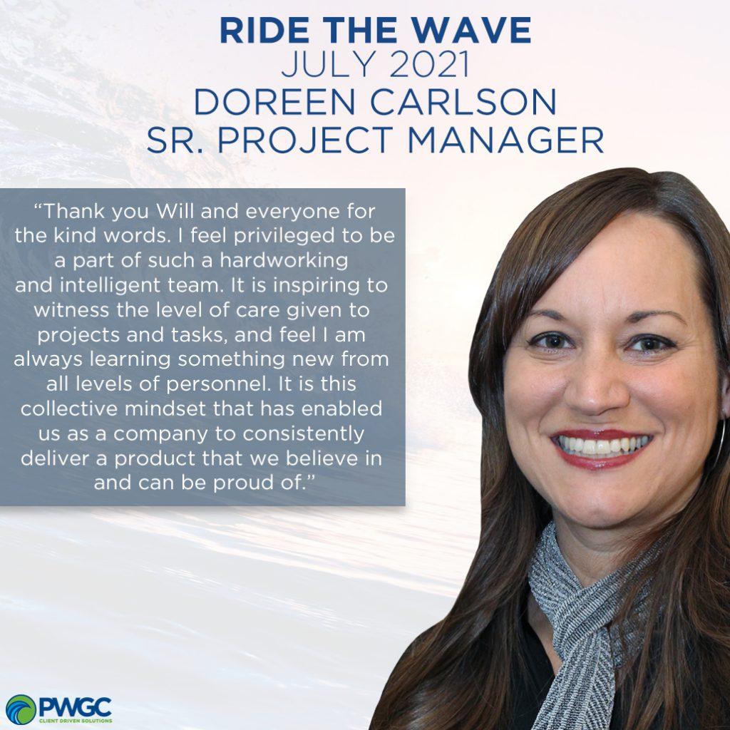 Ride the wave July 2021 recipient Doreen Carlson