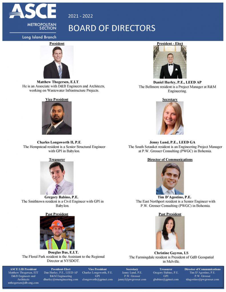 ASCE Long Island Branch 2021-2022 Board of Directors